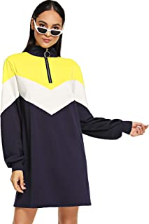 Women's Casual Color Block Zipper Loose Pullover Sweatshirt Dress