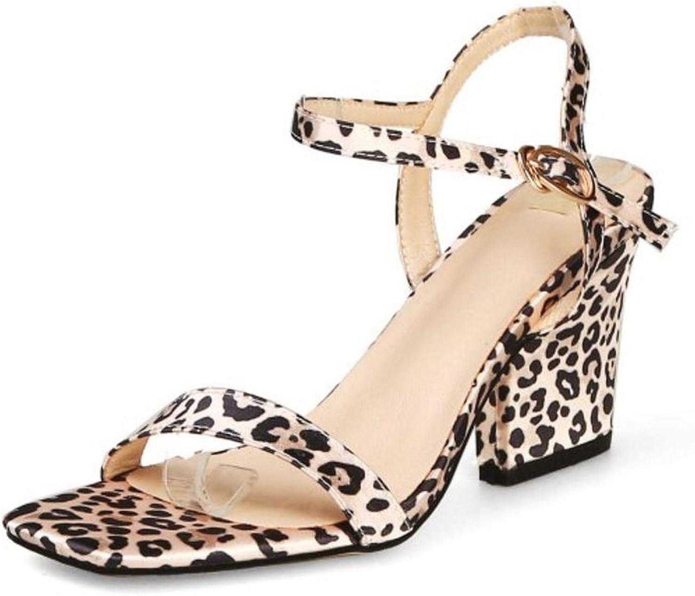Houfeoans Women High Heels Sandals Buckle Sexy Leopard Print shoes Women Fashion Party Office Ladies Footwear
