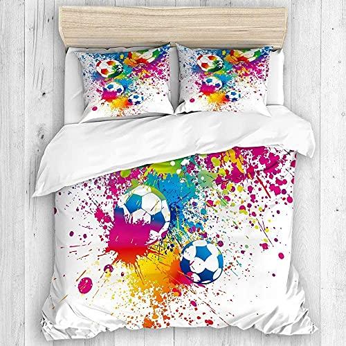 Zozun Bettbezug, farbige Spritzer überall auf Fu?b?llen Punktzahl Weltmeisterschaft Athletic Artful Bettbezug-Set, Bettbezug + 2 Kissenbezüge, Apartment-Bettbezug-Set