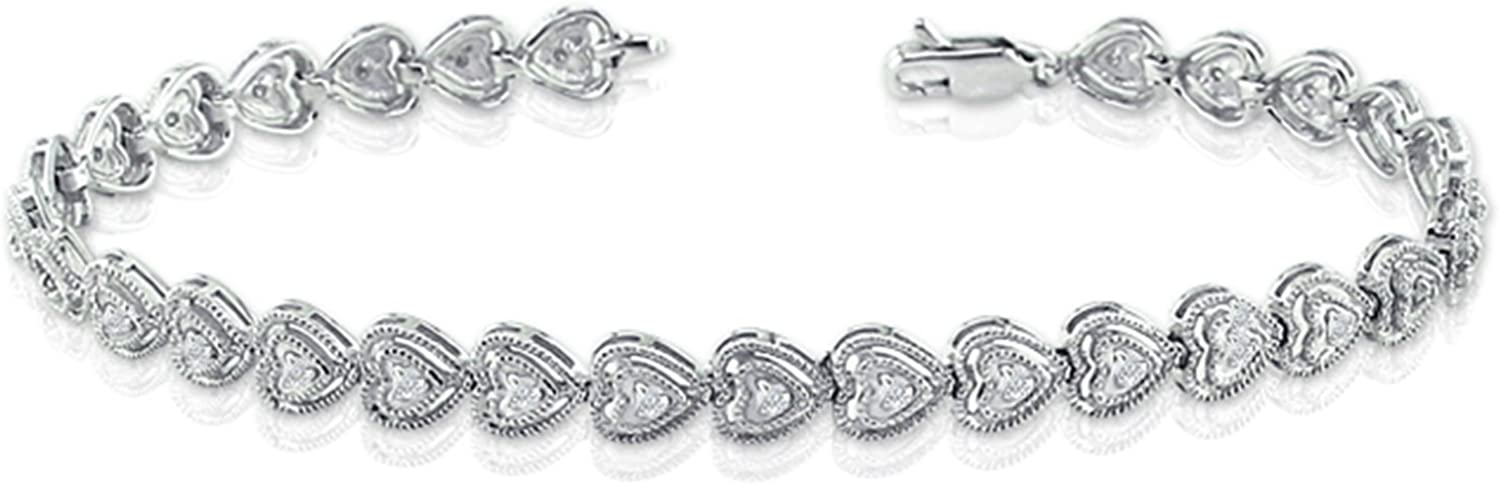 14k White Gold Inventory cleanup selling Portland Mall sale Round-cut Diamond Tennis 4 Link 1 cttw Bracelet
