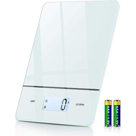 Balance Cuisine, 6 Unités Balance Alimentaire Électronique avec 1g/0.1oz Précision, Fonction de Tare, Rétroéclairé Écran LCD, Plateforme en Verre Trempé, 5kg Balance Numérique, Piles Incluses
