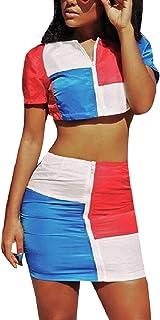 Nicellyer 女性ステッチジップアップショートスリーブヴォーグスカートドレス2個セット