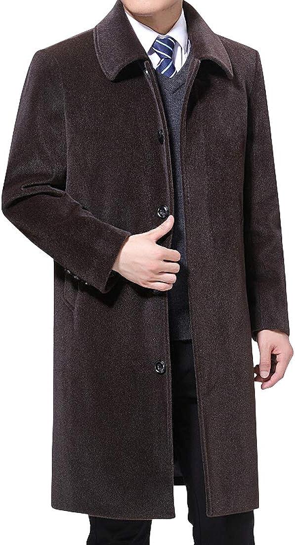 utcoco Mens Warm Spread Collar Single-Breasted Pockets Midi Long Wool-Blend Pea Coat