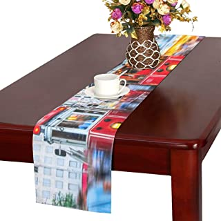 XINLU Table Runner Long Old-Fashioned Red Tram On Street Diner Table Runner Tv Table Runner 16x72 Inch for Dinner Parties Events Decor