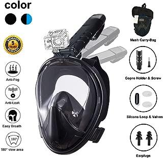 Ufanore *管面罩 [ 新版 2.0 ] **口罩 可折叠 180° 全景视野 自由* 防雾防漏浮潜面罩 带 Gopro 安装,易于调整
