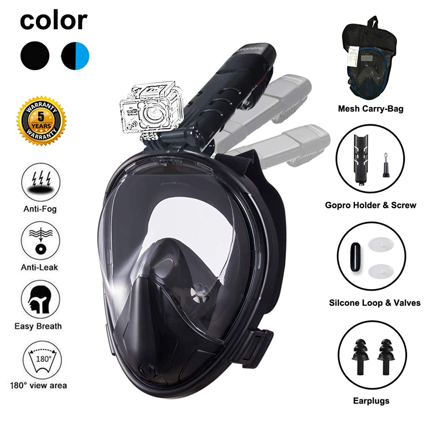 Ufanore Snorkel Mask Full Face, Snorkeling Mask with Detachable?Camera Mount, Foldable 180° Panoramic View, Free Breathing, Anti-Fog and Anti-Leak