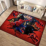 WXWIN Sala De Estar Alfombra De Dibujos Animados De Spider-Man 3D Hijos El Modelo De Alfombra De La Sala Dormitorio Cabecera De La Habitación,80x120cm