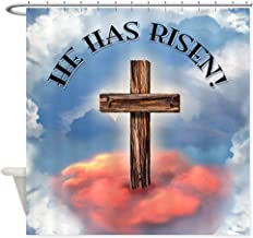 CafePress He Has Risen Rugged Cross with Clou Decorative Fabric Shower Curtain (69