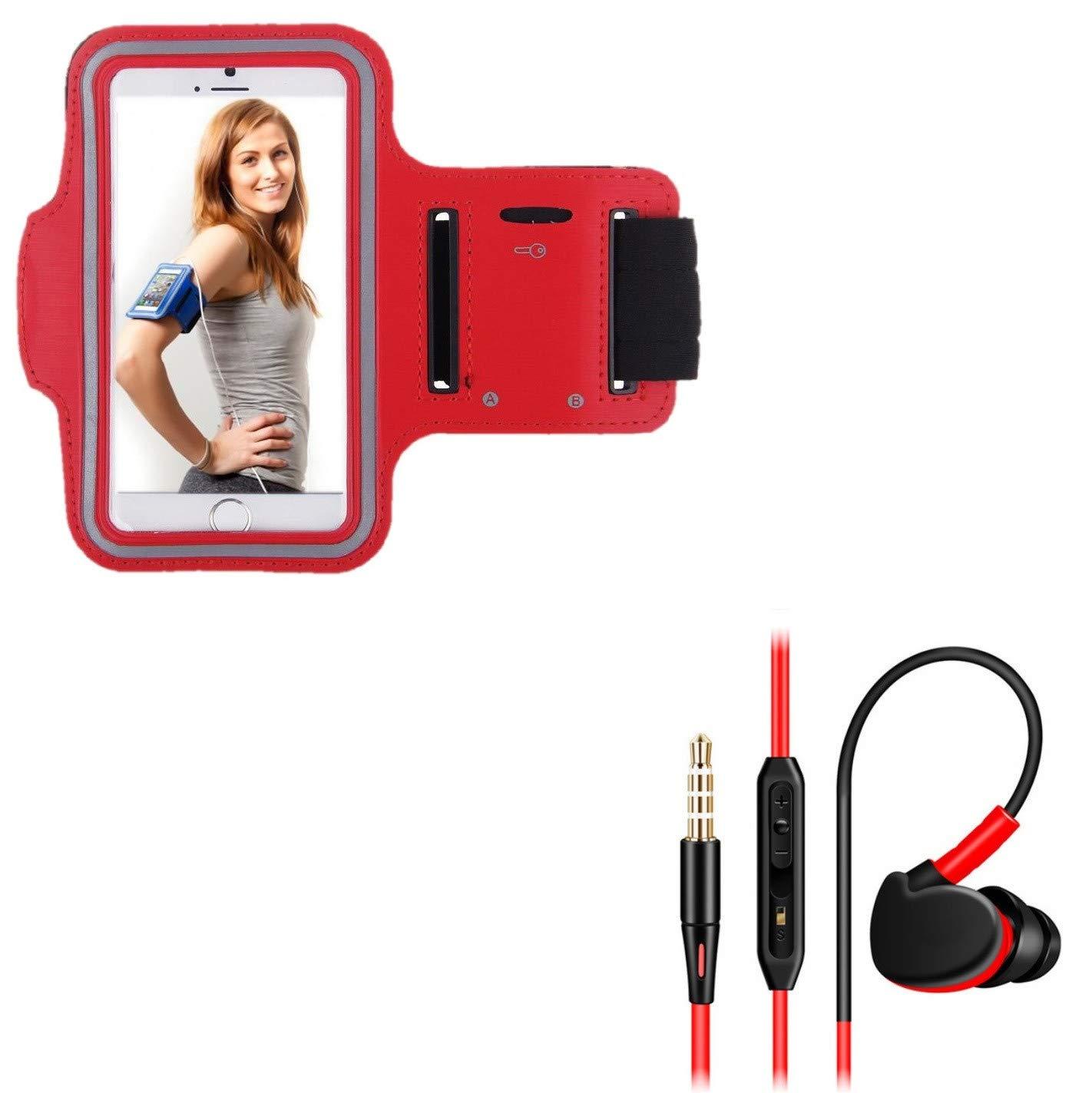 Pack Deportivo para Sony Xperia 10 Smartphone (Brazalete Deportivo + Auriculares in-Ear con micrófono) Courir T7 (Rojo): Amazon.es: Electrónica