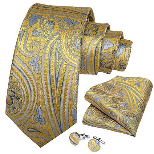 WOXHY Cravate Homme Or Bleu Paisley Soie Mariage Handy Bouton de Manchette Cadeau Cravate Set Design Party Business Fashion