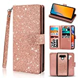 Newseego Compatible LG Stylo 6 Leather Case 6.8inch,Glitter Faux PU Leather Magnetic Closure Multi-Credit Card Slot Cash Holder Detachable 2 in 1 Wallet Cover with Wrist Strap- Rose Gold