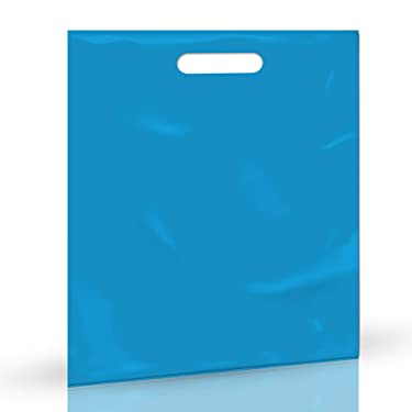 """100 Pack 12"""" x 15"""" with 1.25 mil Thick Blue Merchandise Plastic Glossy Retail Bags 