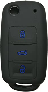 Coolbestda Silicone 3 Buttons Flip Key Fob Remote Cover Case Keyless Entry Protector Jacket Holder for VW Volkswagen Jetta GTI Passat Golf Tiguan Touareg Beetle