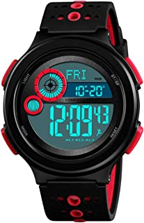 TONSHEN Men and Boy Multifunction Outdoor Digital Compass Watch 50M Waterproof Pedometer Calories LED Electronic Back Light Plastic Case with Rubber Band Sport Watches (Red)