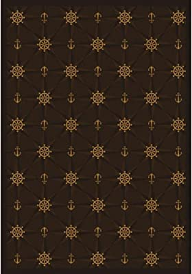 Joy Carpets Kaleidoscope Mariner's Tale Whimsical Area Rugs, 92-Inch by 129-Inch by 0.36-Inch, Chocolate