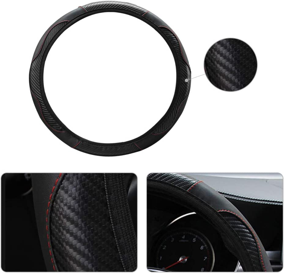 hicoosee Soft Leather Universal O//D-shaped 37-38CM Car Steering Wheel Cover for Auto//Truck//SUV//Van Black Steering Wheel Cover