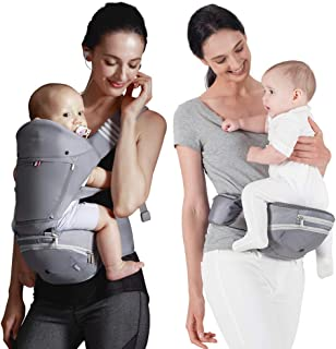Bebamour Baby Carrier with Hip Seat for All Seasons, 6 in 1 Comfortable & Safe for Infant & Toddlers,Ergonomic Baby Backpa...