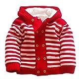 Vlunt Manteau Chandail Bébé Épais Tricot Haut pour Bebe Fille et Bebe Garçon, Automne et Hiver Cardigan Bébé avec Molleton Doublure (Rouge Rayures, Stature 90-100cm)