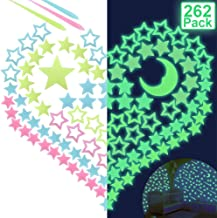 Outkitkit 263 Pcs Glow in Dark Stars, Adhesive 3D Luminous Stars and Moon Removable Wall Stickers Perfect Gift for Kids Bedroom
