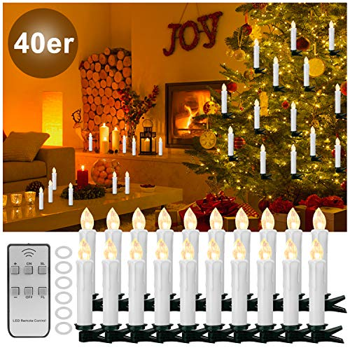 YAOBLUESEA 40stk Weinachten LED Kerzen Lichterkette Kabellos Weihnachtskerzen Christbaumschmuck Weihnachtsbaumbeleuchtung mit Fernbedienung Kabellos für Weihnachtsbaum Weihnachtsdeko Hochzeit