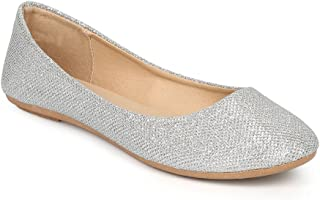 Womens Shiny Glitter Ballet Flats Slip On Dress Ballerina Sparkle Wedding Shoes