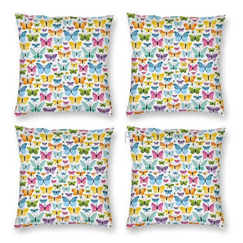 Pillow Covers 18 x 18 Inch Set of 4, Butterfly Colorful Bugs with Wings Spring Season Animals Dotted Cartoon Design Decorative Throw Pillow Case Cushion Cover for Sofa Couch Sofa Home Decor