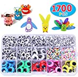 Max Fun 1700pcs 4MM-15MM Googly Wiggle Eyes Self-Adhesive for DIY Craft Sticker Eyes Multi Colors and Sizes