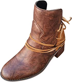 ❤Kauneus❤ Womens Lace up Vintage Mid Calf Boots Chunky Mid Heel Knight Boots Retro Ankle Booties
