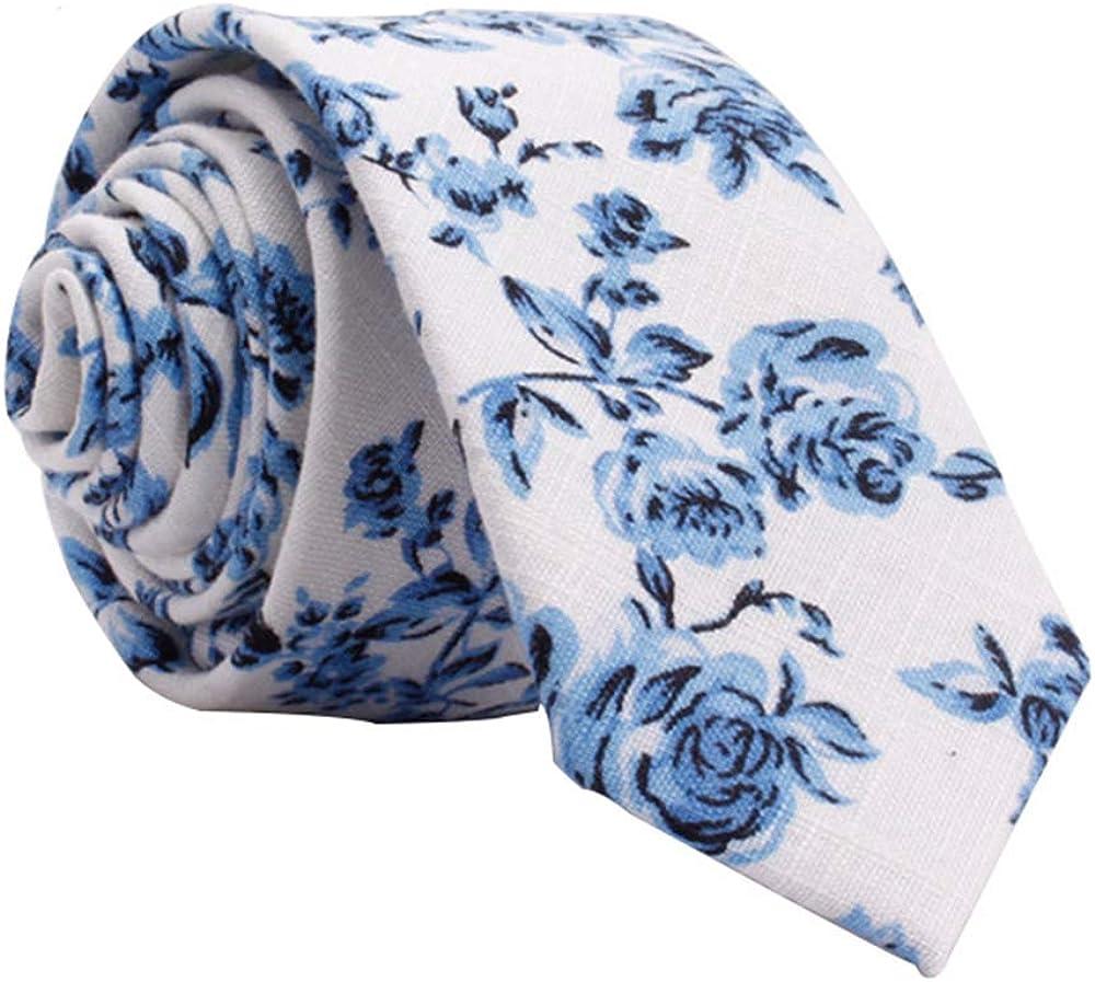 Kebocis Mens Skinny Cotton Floral Necktie Thin Tie for Men