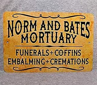 Tiukiu Letrero de Metal Texto en inglés Norm and Bates Mortuary Funerals Coffins Death Mortician Science Dead Gore Horror Prop de Aluminio para Garaje y Cueva de Hombre