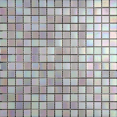 Decostyle DEC-74291AXT013 - Mosaico de Vidrio en Malla, Blanco, 4 mm, 32.7 x 32.7 cm, Set de 10 Piezas