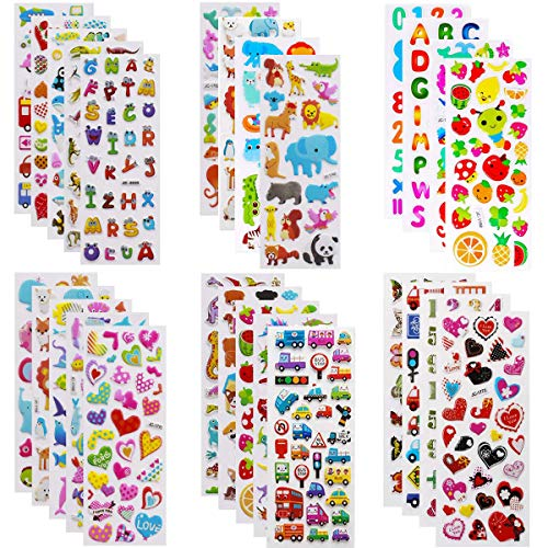 3D Stickers for Kids, Puffy Stickers 24 Diffrent Sheets Over 550, Coloured Children Stickers for Teachers as Reward,Craft Scrapbooking,Journal,Party Favours