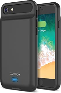 XDesign [Upgraded] iPhone 8 7 6S 6 Battery Case, 3000mAH Lightning Port Apple iPhone 8/7/6S/6 Battery Case Portable Backup Battery Power Bank Protective Travel Charger Case [Black]