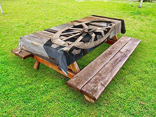 ABAKUHAUS Wagenrad Outdoor-Tischdecke, Log Wandwagen, dekorative waschbare Picknick-Tischdecke, 145 x 210 cm, Umber Beige