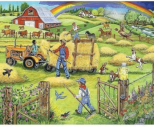 Venta en línea precio bajo descuento Bits and Pieces - 500 Piece Jigsaw Puzzle -Makin' Hay Hay Hay - Scenic Farm - by Artist Sandy Rusinko - 500 pc Jigsaw by Bits and Pieces  precios mas baratos