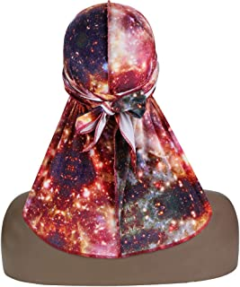 ASHILISIA Luxury Textile Printing Du-rag - Silky Velvet Durag Headwraps with Extra Long Tail and Wide Straps for 360 Waves