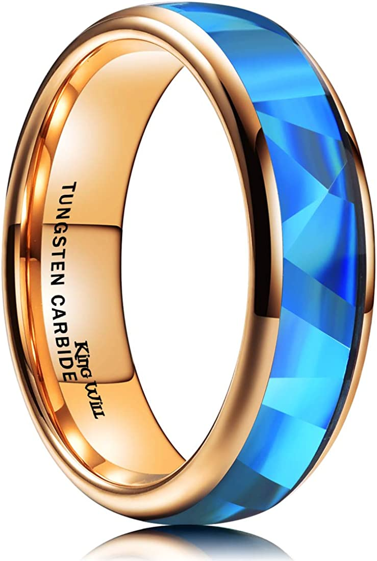 King Will Mens 4mm 6mm 8mm Silver//Rose Gold Tungsten Carbide Ring Inlaid Triangle White//Blue Opal Sticker Dome Wedding Engagement Band