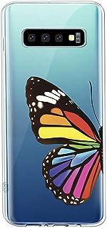 Oihxse Silicone Transparente Case avec Motif Papillon Compatible pour Samsung Galaxy S10 Coque Souple TPU Gel Mode 3D Dess...