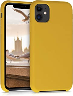 kwmobile TPU Silicone Case for Apple iPhone 11 - Soft Flexible Rubber Protective Cover - Black Yellow 49724.143