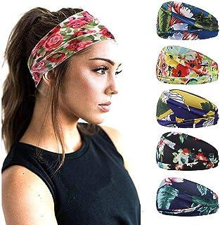 Boho-haarband voor dames, 5-delig, brede hoofdbanden, bloemenprint, hoofdwrap, elastische haarbanden, zweetband, hoofdband...