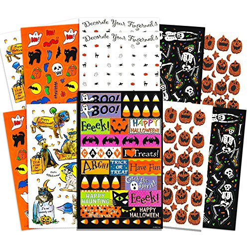 Crenstone Halloween Stickers Party Pack (Over 300 Halloween Stickers, 24 Party Favors Sheets)