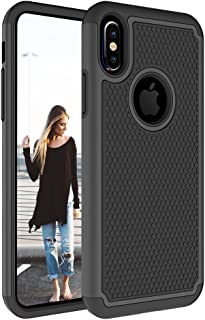 iPhone X Case, Asstar Durable Fit Dual Layer Soft TPU Hybrid Anti Scratch Shockproof Rugged Heavy Duty Full Body Protective Case for Apple iPhone X (Black)