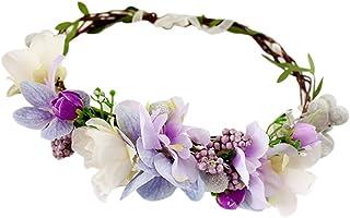 YAZILIND Corona Tocado Bohemio Estilo púrpura Guirnalda de
