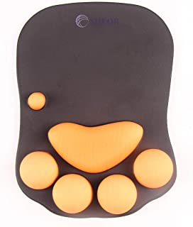 SHEOB Mouse Pad with Wrist Support Cat Paw Soft Silicone Wrist Rests Wrist Cushion Computer Mouse Pad Mat Desk Decor(10.7x7.8x0.9'')