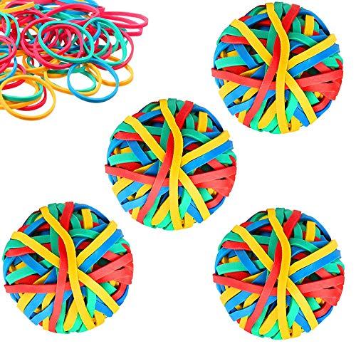 Aallo 4 Rollen Ball bunten Gummis Gummibänder-Ball Bunt Sortierte Gummiringe für DIY Kunsthandwerk Dokumente Organisieren