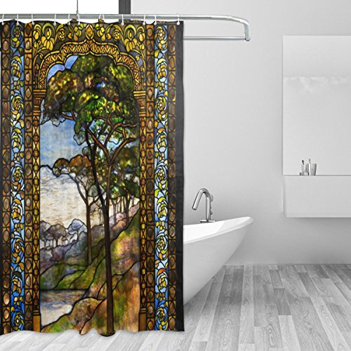 LORVIES Stained Glass Windows Shower Curtain Set Polyester...