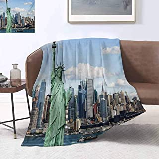 jecycleus New York Children's Blanket Statue of Liberty in NYC Harbor Urban City Print Famous Cultural Landmark Picture Lightweight Soft Warm and Comfortable W70 by L90 Inch Mint Blue