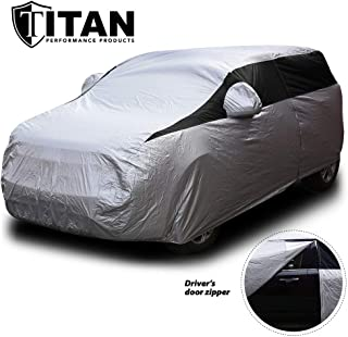 Titan Lightweight Car Cover. Compact SUV. Fits Toyota RAV4, Honda CR-V, Nissan Rogue, and More. Waterproof Cover Measures 187 Inches, Includes a Cable and Lock and Driver-Side Door Zipper.