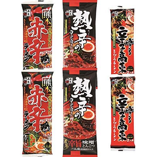 五木食品 辛味ラーメン 3種×各2個アソートセット (熊本赤辛/熱辛辛旨味噌とんこつ/博多辛子高菜とんこつ 計6個)