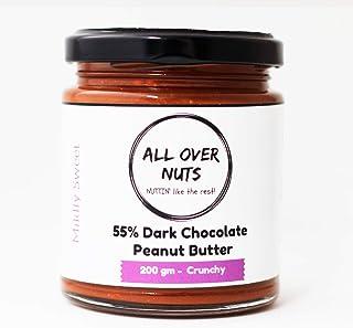 All Over Nuts 55% Dark Chocolate Creamy Peanut Butter, 200 gm Stone Ground (Non-GMO, Gluten Free, Vegan)